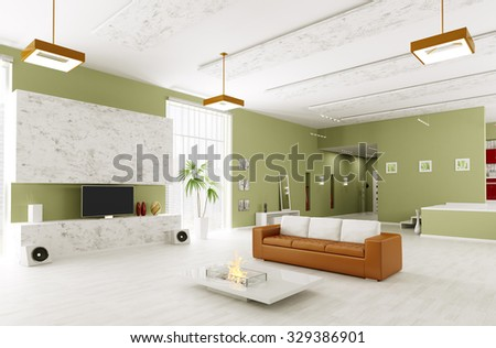 Interior of modern living room and hall 3d render - stock photo