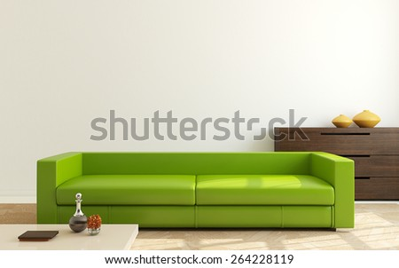 Interior of modern living-room. 3d render. - stock photo