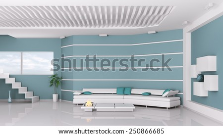 Interior of modern living room 3d rendering - stock photo