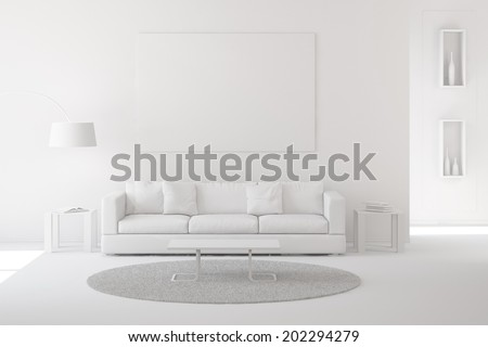 Interior of modern living room with carpet and sofa white paint - stock photo