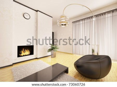 Interior of modern living room with fireplace and black armchair 3d render - stock photo