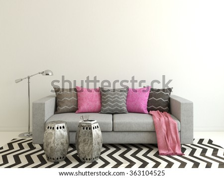 Interior of modern living-room with gray couch. 3d render. - stock photo