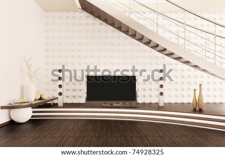 Interior of modern living room with home cinema 3d render - stock photo