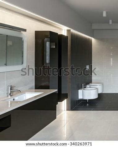 Interior of modern luxury bathroom in minimalistic style - stock photo