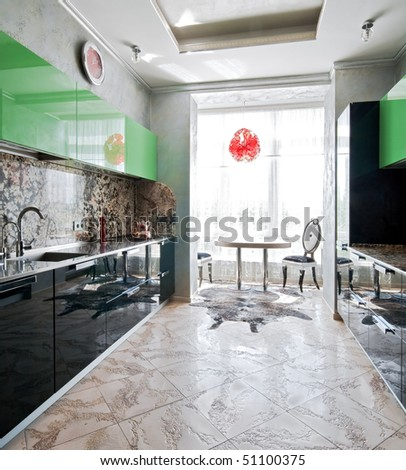Interior of modern luxury kitchen with window - stock photo