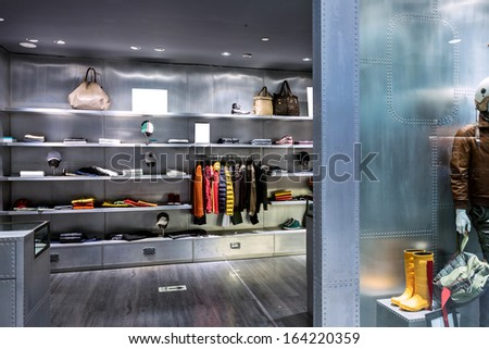 interior of modern mall - stock photo