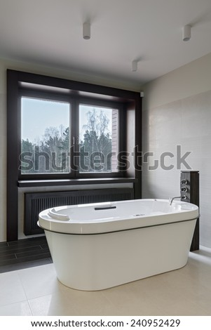 Interior of modern minimalistic bathroom with window - stock photo