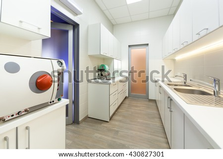 Interior of modern new laboratory at dental clinic.