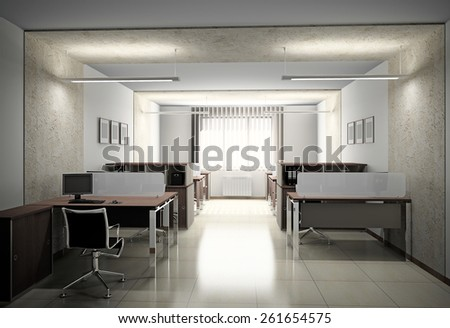 Interior of modern office 3D rendering - stock photo