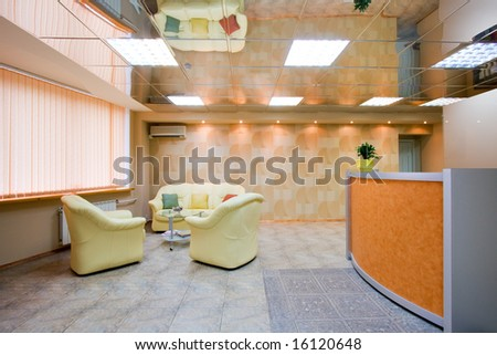 Interior of modern reception room in office - stock photo