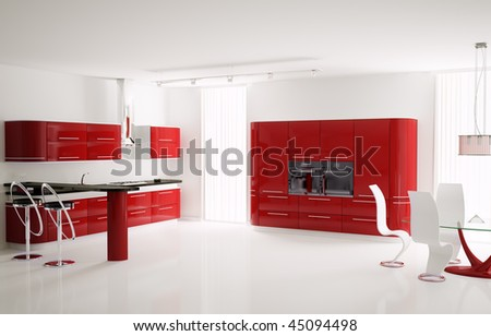 Interior of modern red kitchen with bar table and stools 3d