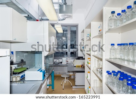Interior of modern research laboratory - stock photo