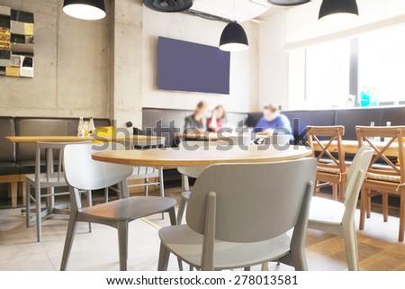 Interior of modern restaurant - stock photo