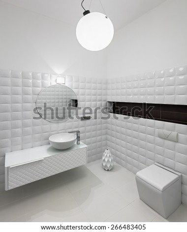 Interior of modern restroom in white colors