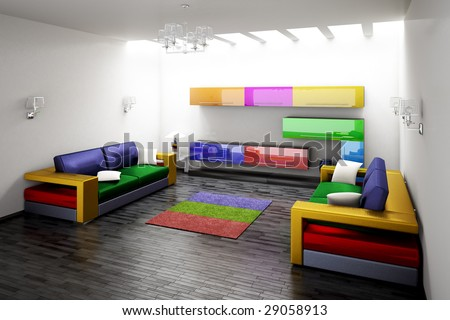 Interior of modern room 3d render - stock photo