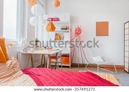 Interior of modern room for teenage girl - stock photo