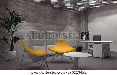 Interior of Modern Room Furnished with Contemporary Office and Sitting Furniture, Featuring Two Bright Yellow Chairs Around Small Round Table and Office Desk and Computer in Background. 3d Rendering - stock photo