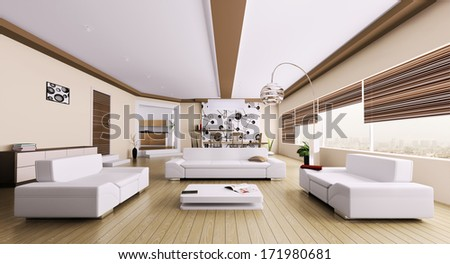 Interior of modern room living room panorama 3d render - stock photo