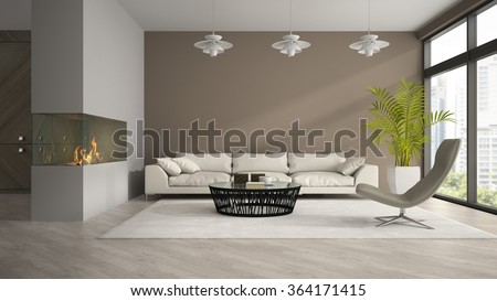 Interior of modern room with fireplace and palm 3D rendering - stock photo
