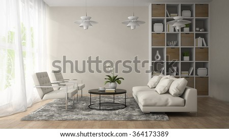 Interior of modern room  with three white lamps 3D rendering  - stock photo