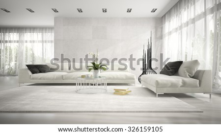 Interior of modern room with white couch 3D rendering  - stock photo