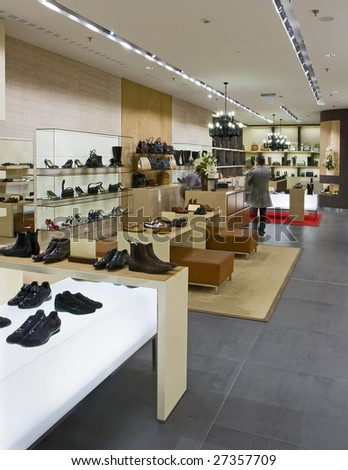 interior of modern shoe shop - stock photo