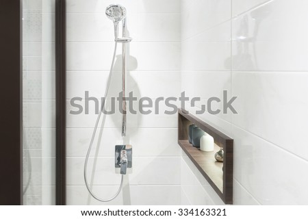 Interior of modern shower head in bathroom at home.Modern design of bathroom. - stock photo