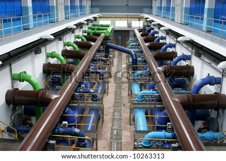 Interior of modern water treatment plant - stock photo