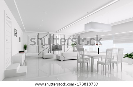 Interior of modern white apartment 3d render - stock photo