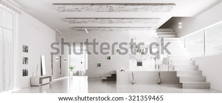 Interior of modern white apartment hall kitchen panorama 3d render - stock photo