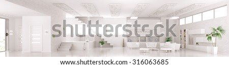 Interior of modern white apartment living dining room hall  panorama 3d render - stock photo