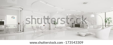 Interior of modern white apartment living dining room kitchen panorama 3d render - stock photo