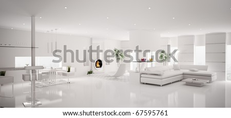 Interior of modern white apartment living dining room panorama 3d render - stock photo