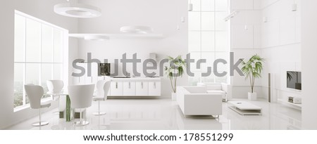 Interior of modern white apartment living room kitchen 3d render - stock photo