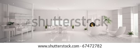 Interior of modern white apartment living room kitchen panorama 3d render - stock photo