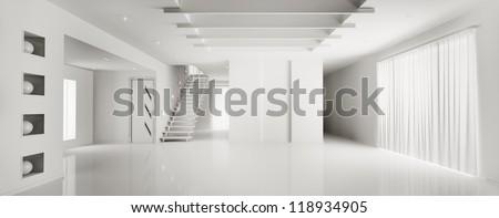 Interior of modern white apartment panorama - stock photo