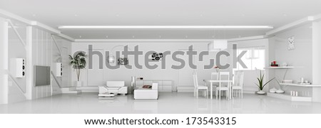 Interior of modern white apartment panorama 3d render - stock photo