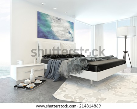 Interior of Modern White Bedroom in Apartment with Bed and Minimal Furniture - stock photo