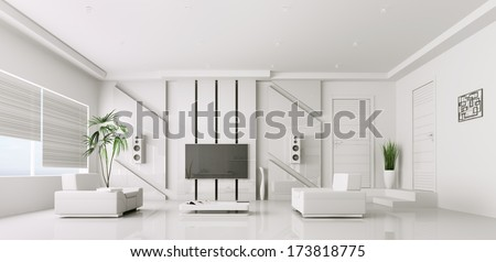 Interior of modern white living room with plasma tv 3d render - stock photo