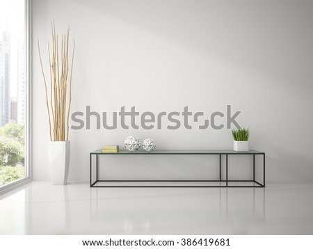 Interior of modern white room with console sofa 3D rendering  - stock photo