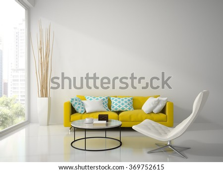 Interior of modern white room with yellow sofa  3D rendering - stock photo