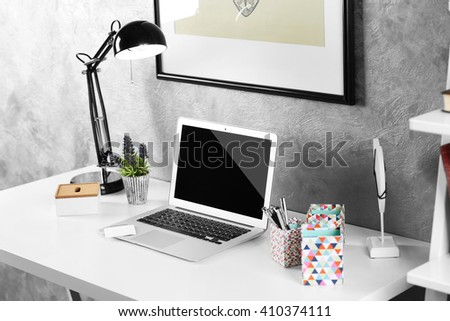 Interior of modern workplace for designer, indoor - stock photo