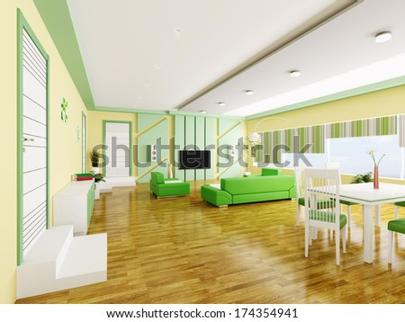 Interior of modern yellow green apartment 3d render