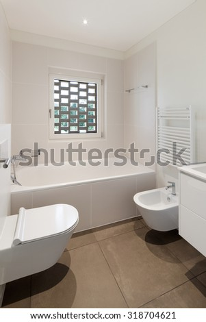 interior of new apartment, modern bathroom