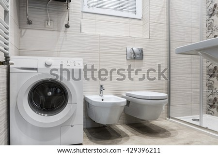 Interior of new apartment, modern bathroom - stock photo