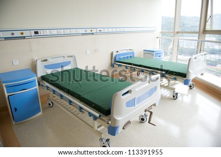 interior of new empty hospital room.