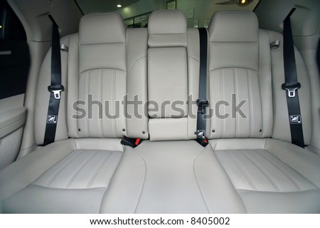 Interior of new luxury car - stock photo