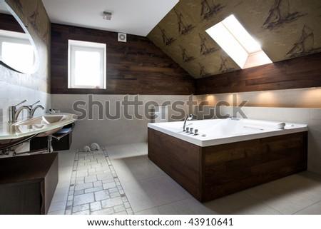 Interior of new modern bathroom in daylight - stock photo