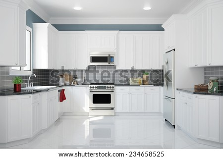 Interior of new white kitchen with kitchenware and clean tiles (3D Rendering) - stock photo