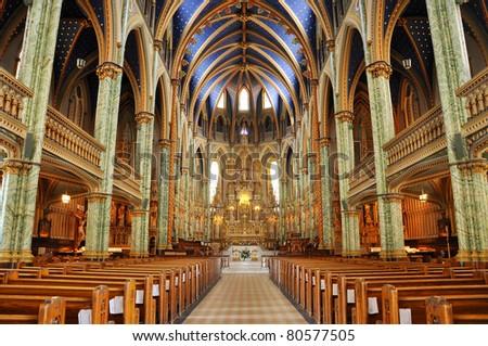 Interior of Notre-Dame Cathedral Basilica, Ottawa, Ontario, Canada - stock photo